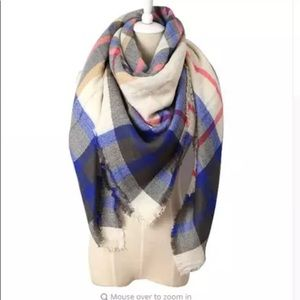 Blue Black White Plaid Triangle Scarf